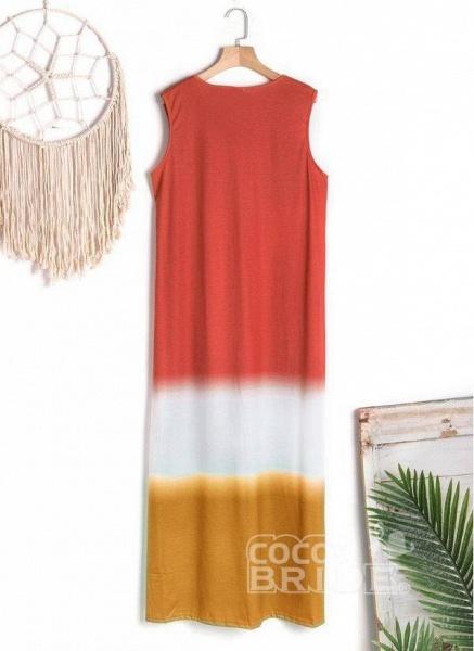 Gray Casual Color Block Tunic V-Neckline Shift Dress_7