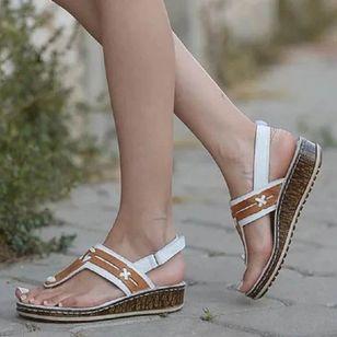 Women's Velcro Flip-Flops Wedge Heel Sandals_1