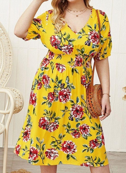 Yellow Plus Size Floral V-Neckline Casual Midi X-line Dress Plus Dress_1