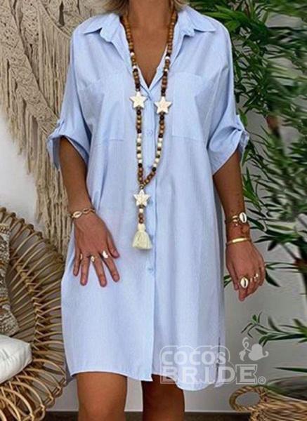 Blue Plus Size Solid V-Neckline Casual Above Knee Shift Dress Plus Dress_2