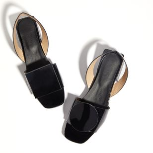 Women's Others Square Toe Patent Leather Low Heel Sandals_1