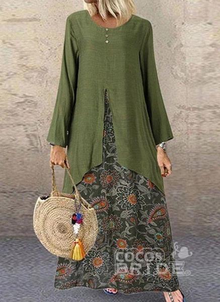 Brown Plus Size Tunic Color Block Round Neckline Casual Buttons Plus Dress_5