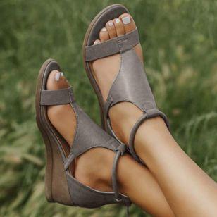 Women's Zipper Round Toe Wedge Heel Sandals_8
