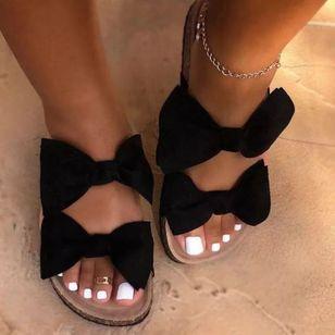 Women's Bowknot Flats Canvas Flat Heel Sandals_1