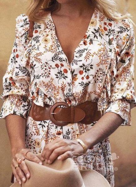 Apricot Boho Floral V-Neckline Maxi X-line Dress_4