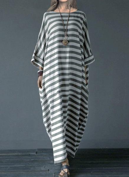 Gray Plus Size Tunic Stripe Round Neckline Casual Pockets Plus Dress_2