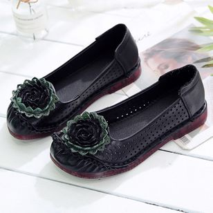 Women's Hollow-out Flower Closed Toe Round Toe Flat Heel Sandals_6