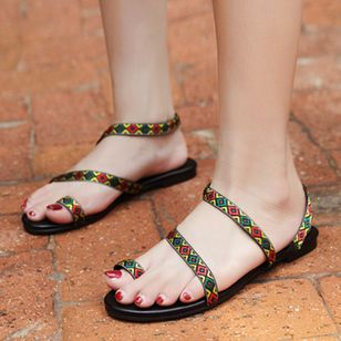 Women's Geometric Flats Toe Ring Flat Heel Sandals_1