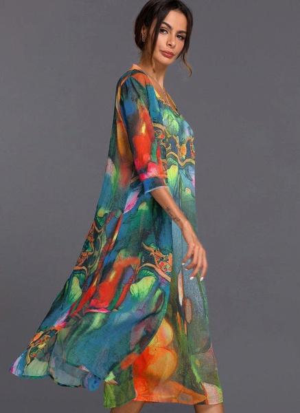 Arabian Wrap Tunic Round Neckline A-line Dress_3
