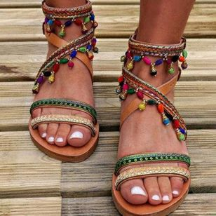Women's Beading Flats Flat Heel Sandals_1