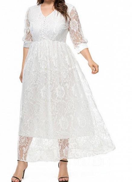 White Plus Size Floral V-Neckline Casual Maxi X-line Dress Plus Dress_3