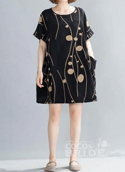 Plus Size Tunic Color Block Round Neckline Casual Pockets Plus Dress_3
