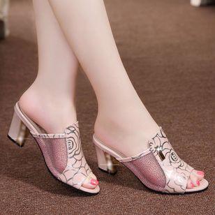 Women's Flower Peep Toe Fabric Chunky Heel Sandals_3