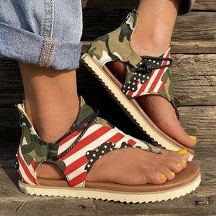 Women's Geometric Zipper Flip-Flops Flat Heel Sandals_4