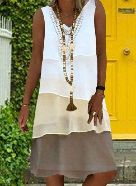 White Plus Size Tunic Color Block V-Neckline Casual Wrap Plus Dress_1