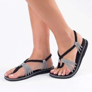 Women's Braided Strap Flip-Flops Cloth Flat Heel Sandals_3
