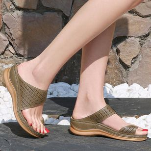 Women's Hollow-out Toe Ring Wedge Heel Sandals_7