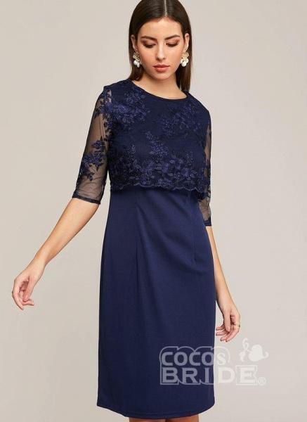 Blue Plus Size Solid Round Neckline Elegant Midi X-line Dress Plus Dress_6