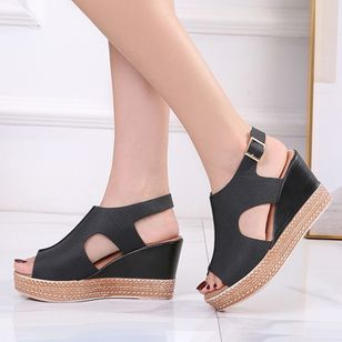 Women's Buckle Peep Toe Slingbacks Wedge Heel Sandals_6