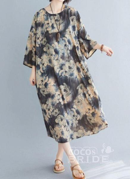 Dark Gray Plus Size Tunic Floral Round Neckline Casual Midi Plus Dress_2