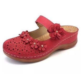 Women's Hollow-out Flower Slingbacks Flat Heel Sandals_4