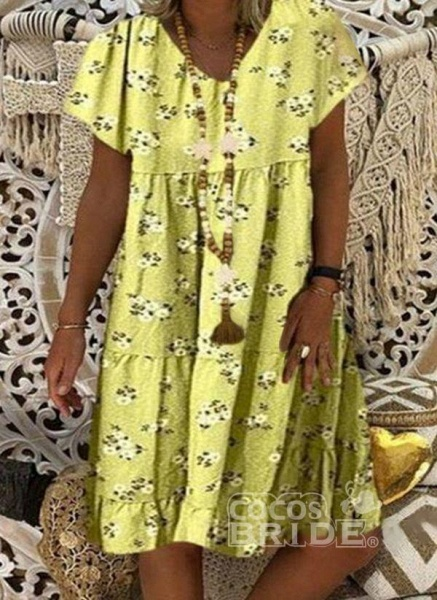 Blue Plus Size Tunic Floral V-Neckline Casual Knee-Length Plus Dress_4
