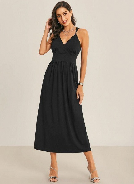 Black Sexy Solid Slip Camisole Neckline Sheath Dress_1