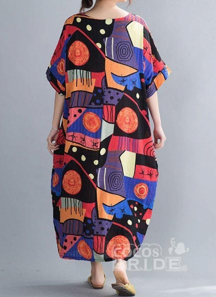 Blue Plus Size Tunic Color Block Round Neckline Casual Midi Plus Dress_4
