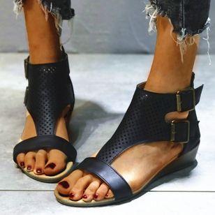 Women's Buckle Hollow-out Flats Flat Heel Sandals_7