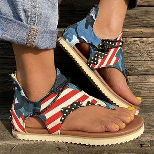 Women's Geometric Zipper Flip-Flops Flat Heel Sandals_3