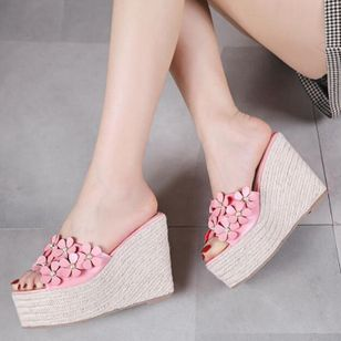 Women's Flower Peep Toe Wedge Heel Sandals_5