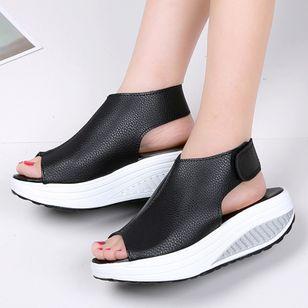 Women's Velcro Peep Toe Flat Heel Sandals_1