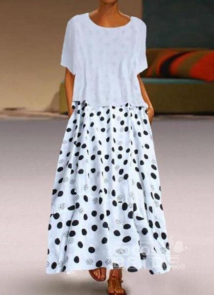 Yellow Plus Size Tunic Polka Dot Round Neckline Casual Maxi Plus Dress_8