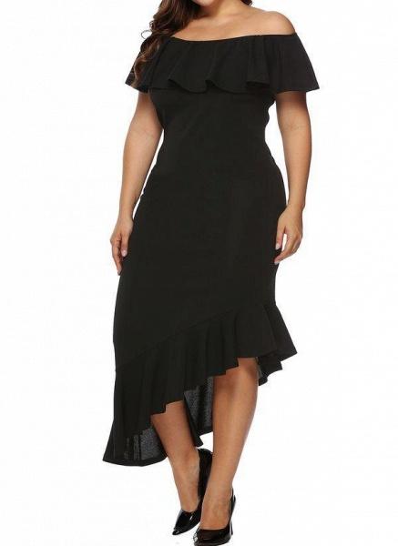 Black Plus Size Pencil Solid Off the Shoulder Elegant Ruffles Plus Dress_1