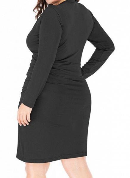 Black Plus Size Pencil Solid V-Neckline Casual Knee-Length Plus Dress_1