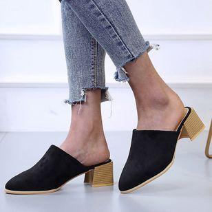 Women's Leopard Pointed Toe Heels Nubuck Chunky Heel Sandals_5