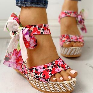 Women's Bowknot Lace-up Flower Slingbacks Cloth Wedge Heel Sandals_3