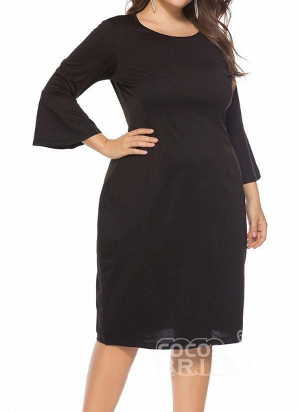 Green Plus Size Pencil Solid Round Neckline Casual Knee-Length Plus Dress_8