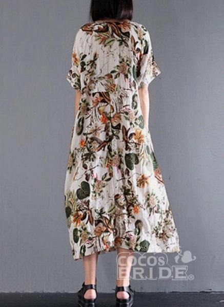 Yellow Plus Size Floral Round Neckline Casual Midi Shift Dress Plus Dress_2