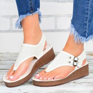 Women's Buckle Hollow-out Flip-Flops Wedge Heel Sandals Platforms_3