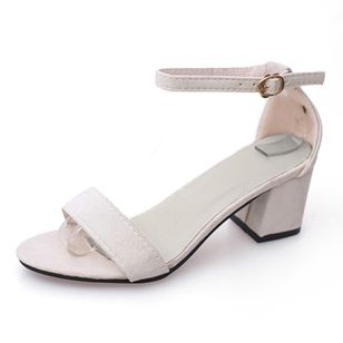Women's Ankle Strap Peep Toe Nubuck Chunky Heel Sandals_5