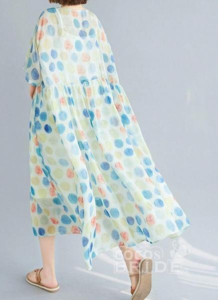 Multicolor Plus Size Tunic Polka Dot Round Neckline Casual Wrap Plus Dress_3