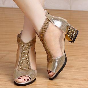Women's Beading Zipper Heels Fabric Sparkling Glitter Chunky Heel Sandals_2