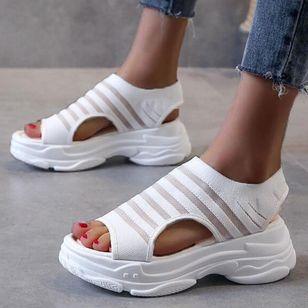Women's Mesh Round Toe Fabric Flat Heel Sandals_4