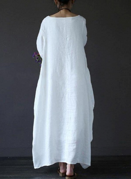 White Chinese Casual Solid Tunic Boat Neckline Shift Dress