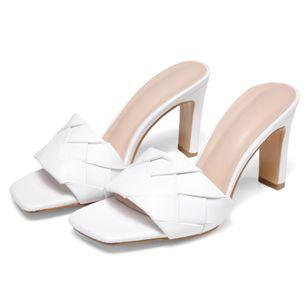 Women's Braided Strap Square Toe Slingbacks Flat Heel Sandals_2