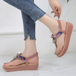 Women's Rhinestone Flip-Flops Flat Heel Sandals Platforms_4