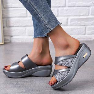 Women's Split Joint Peep Toe Wedge Heel Sandals_3