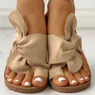 Women's Bowknot Flats Cloth Flat Heel Sandals_12