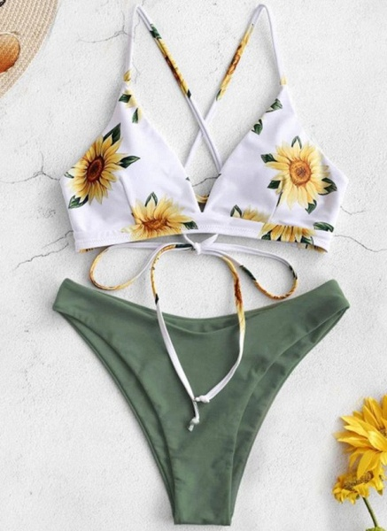 Polyester Knotted Floral Bikinis Swimwear_4